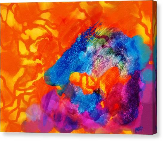 Blue On Orange Canvas Print