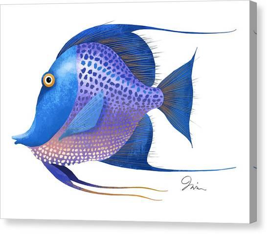 Shrimping Canvas Print - Blue On White by Trevor Irvin