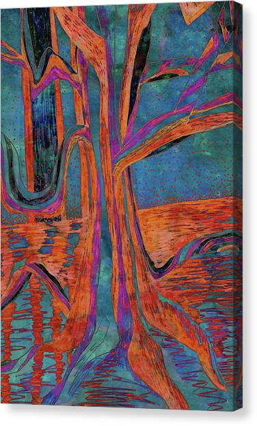 Blue-orange Warm Dusk River Tree Canvas Print