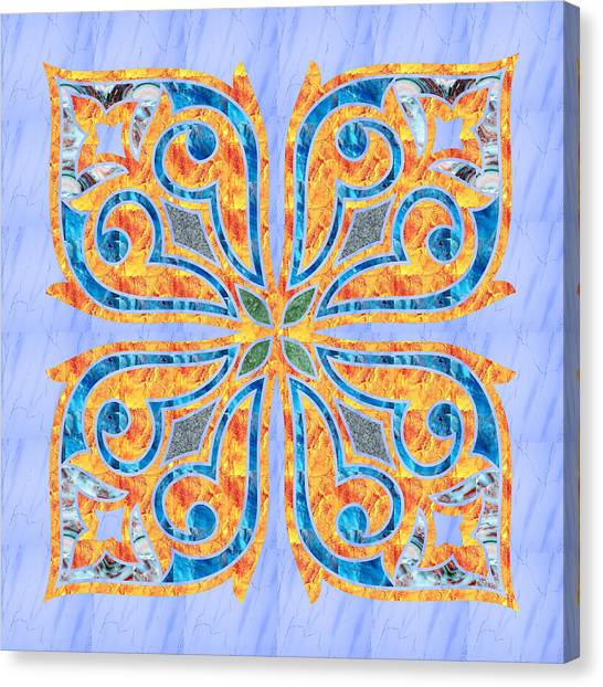 Blue Oriental Tile 02 Canvas Print