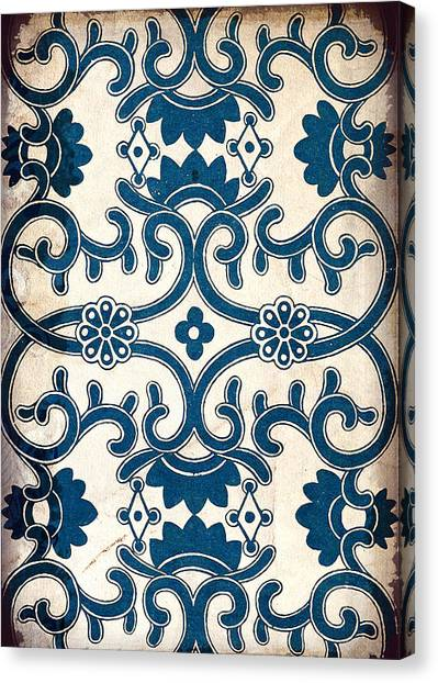 Blue Oriental Vintage Tile 02 Canvas Print