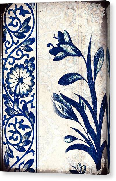 Blue Oriental Vintage Tile 03 Canvas Print