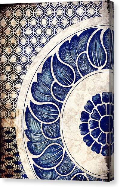 Blue Oriental Vintage Tile 05 Canvas Print