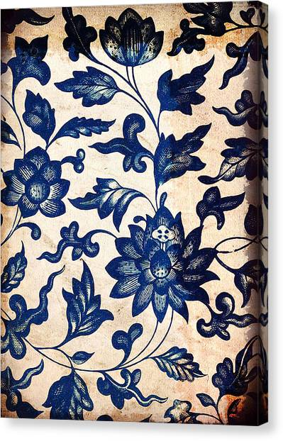 Blue Oriental Vintage Tile 06 Canvas Print