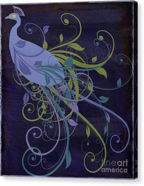 Peacocks Canvas Print - Blue Peacock Art Nouveau by Mindy Sommers