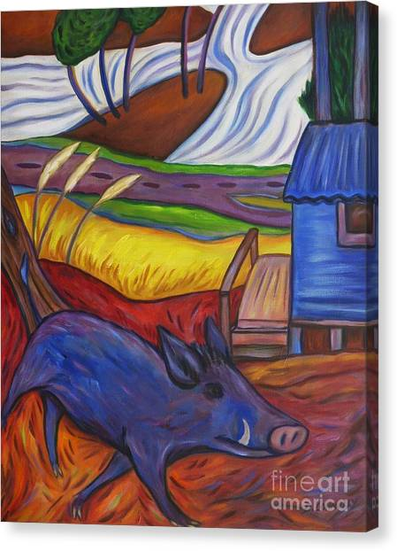 Blue Pig By Blue Hut Canvas Print