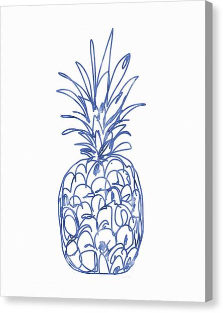 Pineapples Canvas Print - Blue Pineapple- Art By Linda Woods by Linda Woods