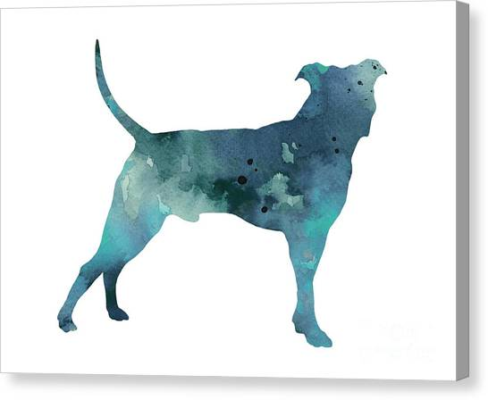 Pit Bull Canvas Print - Blue Pit Bull Watercolor Art Print Painting by Joanna Szmerdt