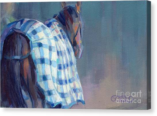Thoroughbreds Canvas Print - Blue Plaid by Kimberly Santini