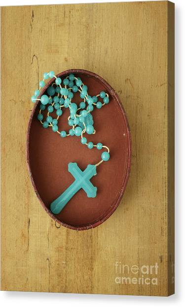 Rosary Canvas Print - Blue Plastic Rosary In Oval Box by Edward Fielding