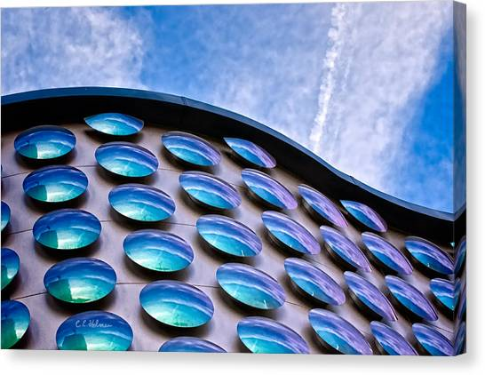 Blue Polka-dot Wave Canvas Print