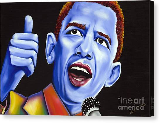 Microphones Canvas Print - Blue Pop President Barack Obama by Nannette Harris