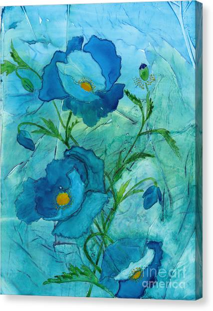 Blue Poppies, Watercolor On Yupo Canvas Print