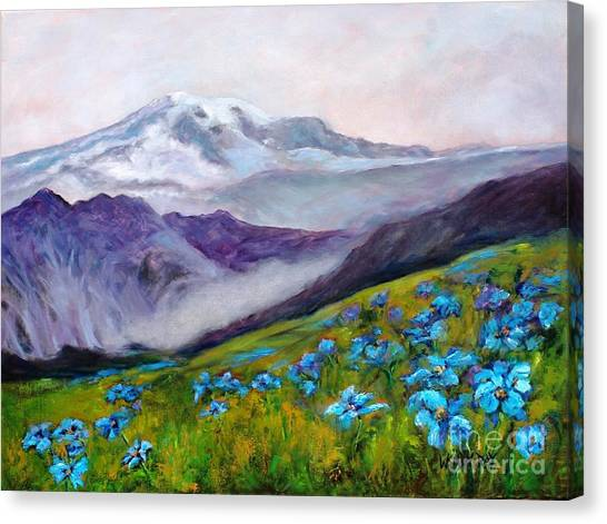 Blue Poppy Field Canvas Print