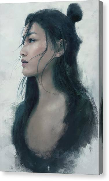Female Canvas Print - Blue Portrait by Eve Ventrue