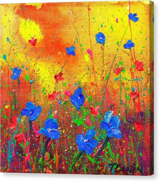 Blue Posies II Canvas Print