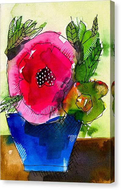 Blue Pot Pink Petals Canvas Print