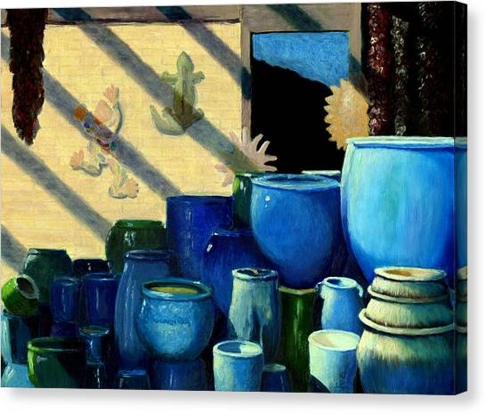Blue Pots Canvas Print