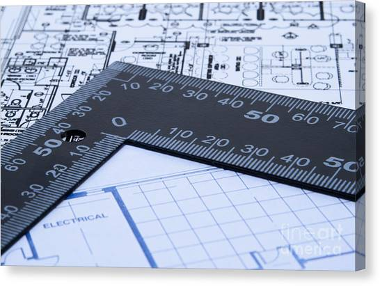 Contractors Canvas Print - Blue Prints And Ruler by Blink Images