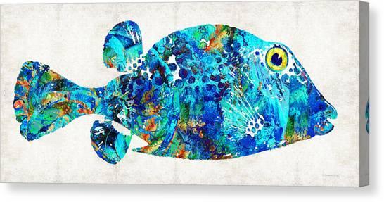 Ocean Life Canvas Print - Blue Puffer Fish Art By Sharon Cummings by Sharon Cummings