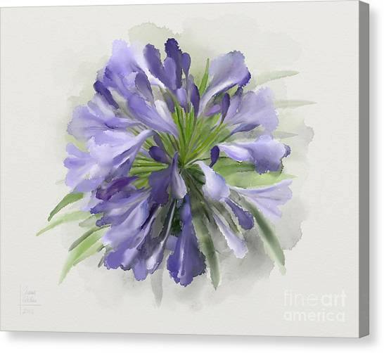 Canvas Print featuring the painting Blue Purple Flowers by Ivana Westin