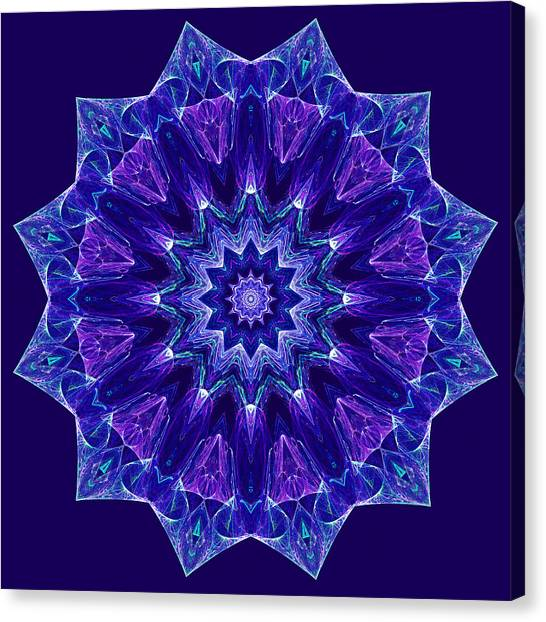 Blue And Purple Mandala Fractal Canvas Print