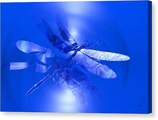 Canvas Print featuring the digital art Blue Reflections Dragonfly by Deleas Kilgore