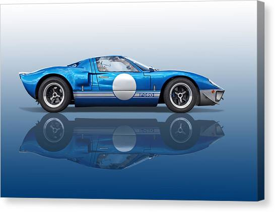 Blue Reflections - Ford Gt40 Canvas Print