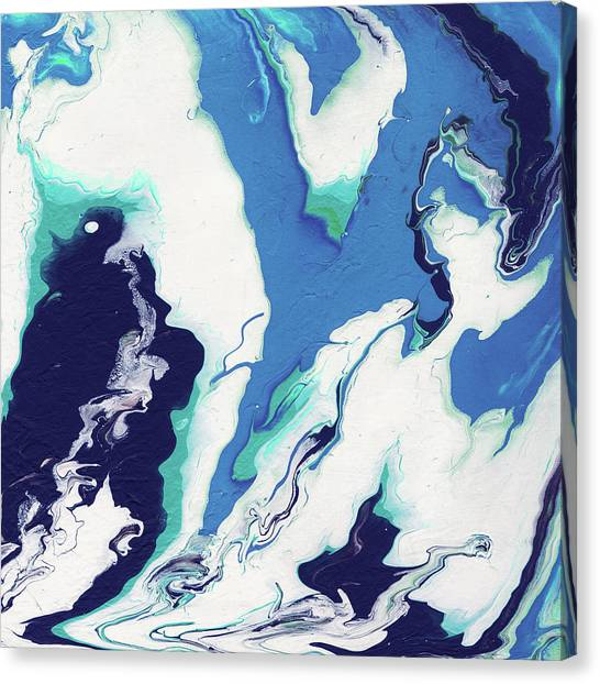 Fluids Canvas Print - Blue Rhapsody- Art By Linda Woods by Linda Woods