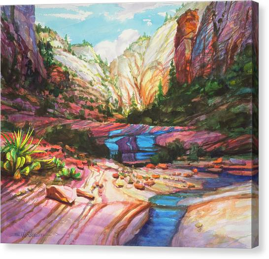 Red Rock Canvas Print - Blue Ribbon by Steve Henderson
