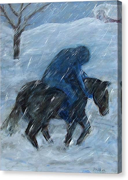 Blue Rider On Horse Canvas Print