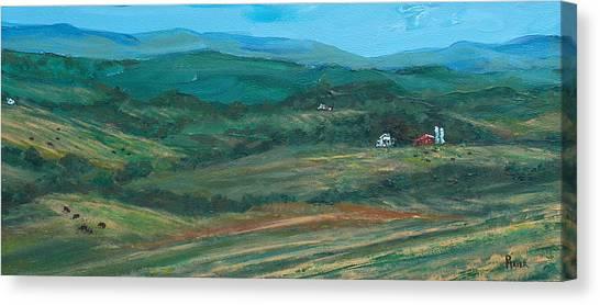 Blue Ridge Black Cows Canvas Print by Pete Maier