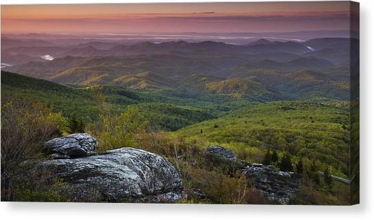 Blue Ridge Parkway Canvas Print - Blue Ridge Dawn Panorama by Andrew Soundarajan
