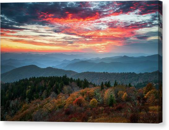 Blue Ridge Parkway Canvas Print - Blue Ridge Parkway Autumn Sunset Scenic Landscape Asheville Nc by Dave Allen