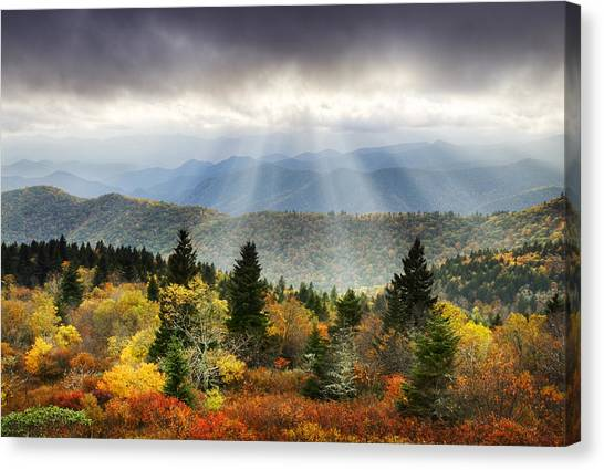 Blue Ridge Parkway Canvas Print - Blue Ridge Parkway Light Rays - Enlightenment by Dave Allen