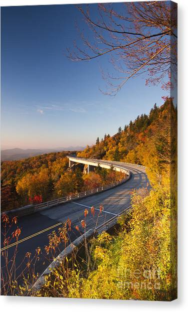 Blue Ridge Parkway Canvas Print - Blue Ridge Parkway Linn Cove Viaduct Fall Colors 2 by Dustin K Ryan