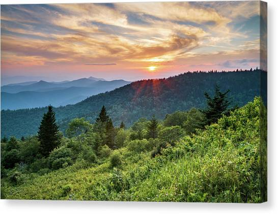 Blue Ridge Parkway Canvas Print - Blue Ridge Parkway Nc Sunset - North Carolina Mountains Landscape by Dave Allen