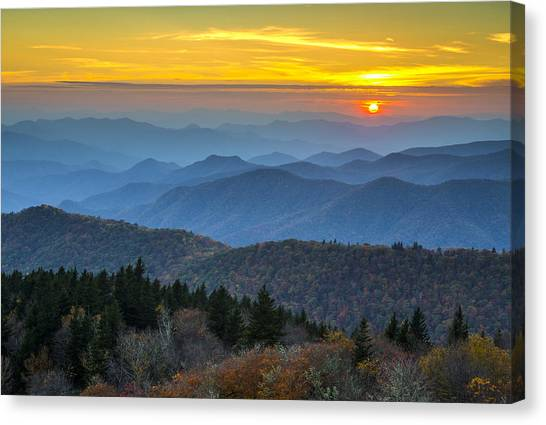 Blue Ridge Parkway Canvas Print - Blue Ridge Parkway Sunset - For The Love Of Autumn by Dave Allen