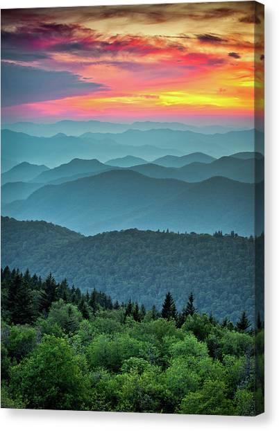 North Carolina Canvas Print - Blue Ridge Parkway Sunset - The Great Blue Yonder by Dave Allen