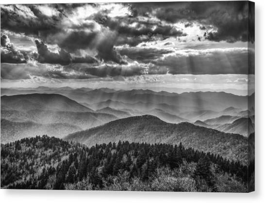 Pisgah National Forest Canvas Print - Blue Ridge Sunbeams by Brian Young