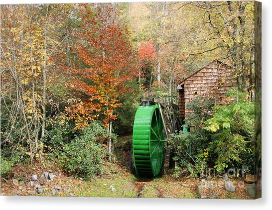 Blue Ridge Waterwheel Canvas Print by Stan and Anne Foster