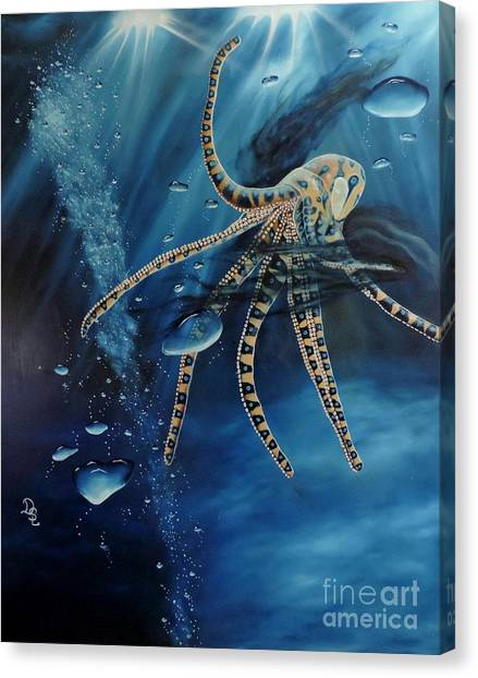 Blue Ring Octopus Canvas Print