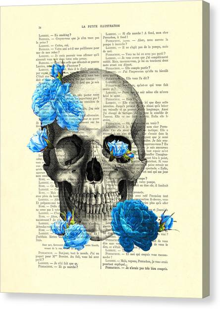 Anatomy Canvas Print - Blue Roses With Skull Art Print by Madame Memento
