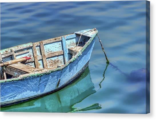 Blue Rowboat At Port San Luis 2 Canvas Print