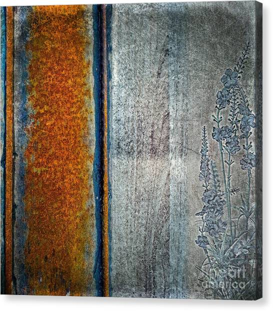 Canvas Print featuring the mixed media Blue Rust by Lita Kelley
