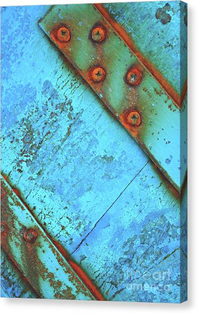 Blue Rusty Boat Detail Canvas Print
