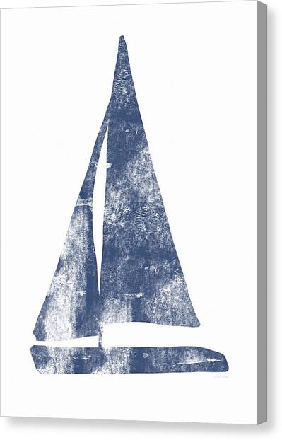 Coastal Art Canvas Print - Blue Sail Boat- Art By Linda Woods by Linda Woods
