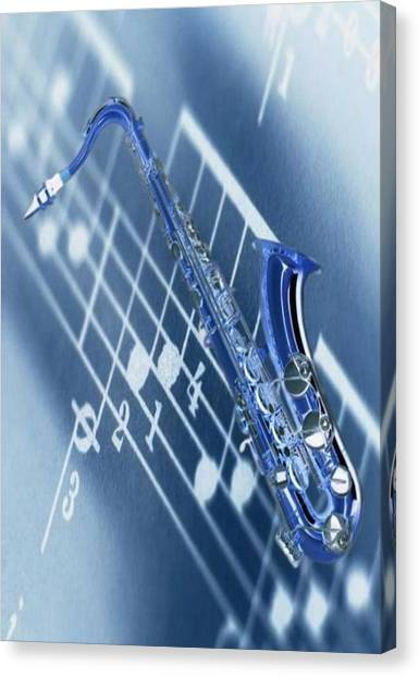 Saxophone Canvas Print - Blue Saxophone by Norman Reutter