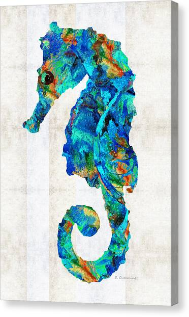 Seahorses Canvas Print - Blue Seahorse Art By Sharon Cummings by Sharon Cummings