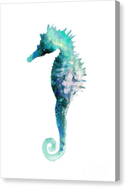 Abstract Art Canvas Print - Blue Seahorse Watercolor Poster by Joanna Szmerdt